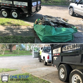 Before and after dumpster bag removal services