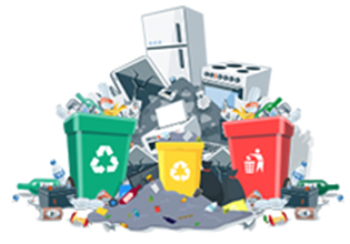 Cartoon of large-size junk and trash items in need of junk removal services