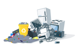 Cartoon of small-sized junk and trash items in need of junk removal services